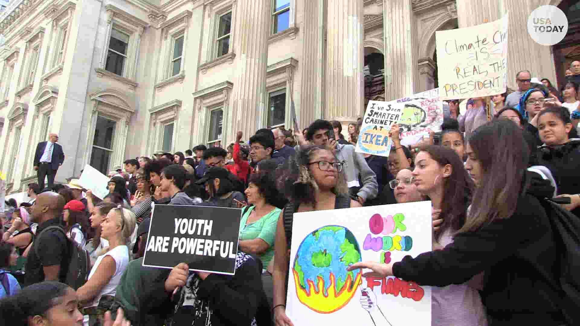 Students gathered at Foley Square, NYC to demand action against climate change. Sept. 20, 2019