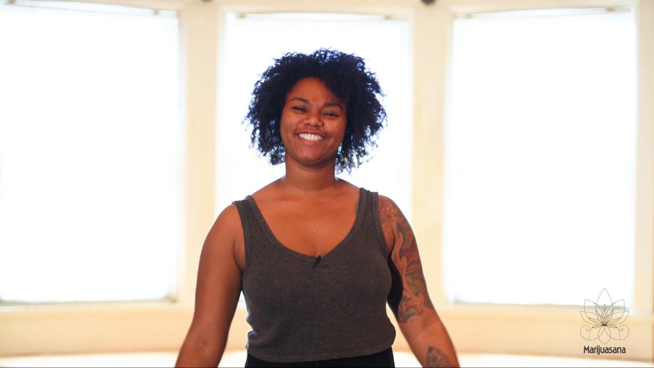 Cannabis yoga video, Jalisa Williams teaches breathing.