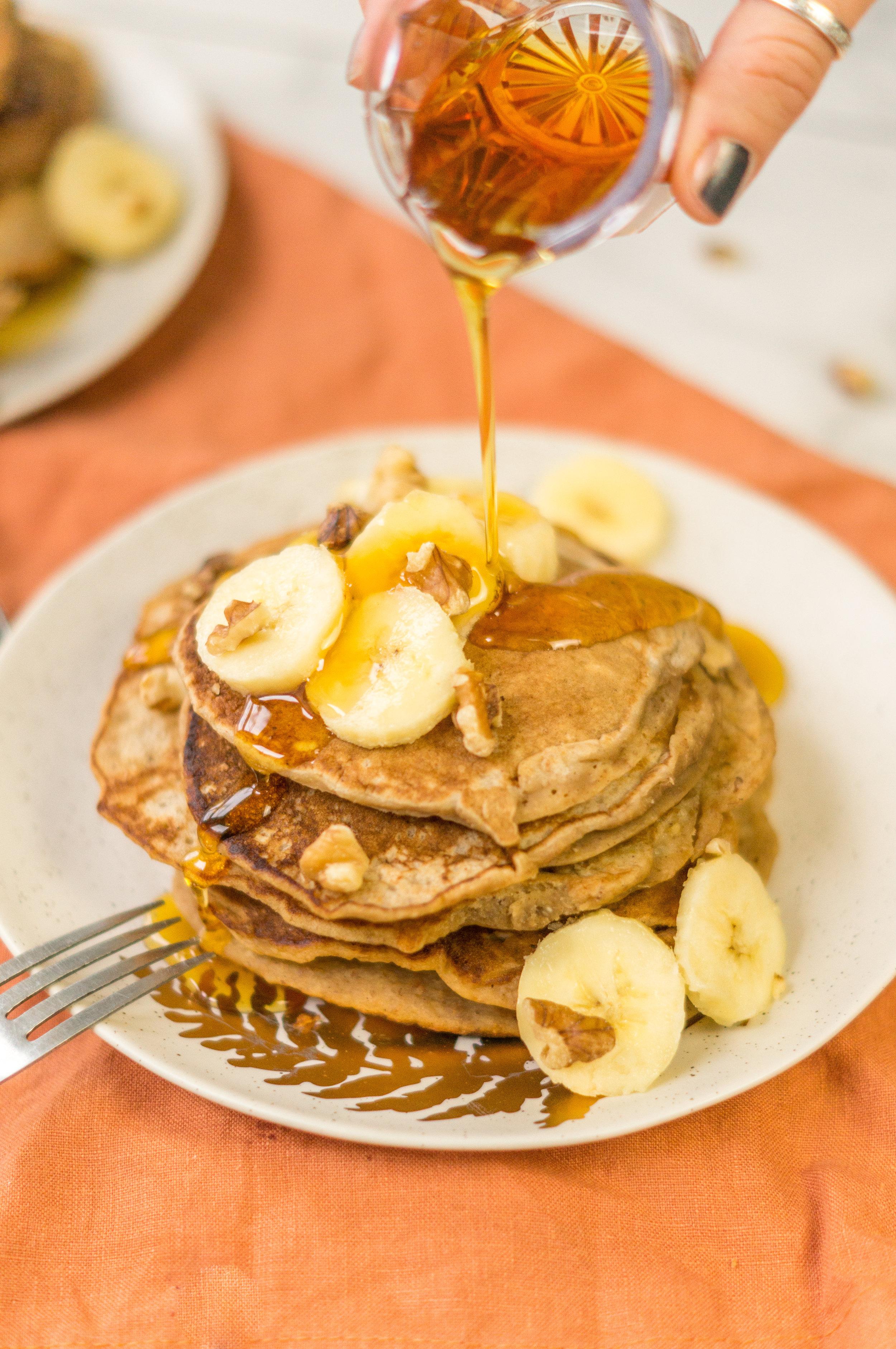 i am rorie, i am rorie recipes, whole foods, vegan food, vegan breakfast, vegan food, vegan breakfast recipes, breakfast recipes, pancake mix, bob's red mill, bob's red mill pancake mix, pancake mix, gluten free pancake mix, paleo pancake mix, gf pancake mix, bananas, mashed bananas, bananas as egg substitute, sub banana for eggs, egg substitute, cinnamon, cinnamon powder, ground cinnamon, vegetable oil, canola oil, milk, almond milk, plant milk, nondairy milk, vegan milk, vegan weekend, vegan brunch, vegan pancakes, easy pancake recipe, quick pancake recipe, banana walnut pancakes, chicago vegan blog, vegan blogger, vegan recipes, chicago blogger, food blogger, vegan food blogger, delicious vegan food, i am rorie food, vegan comfort food, lazy vegan food, easy vegan recipe, simple vegan breakfast, simple vegan recipe