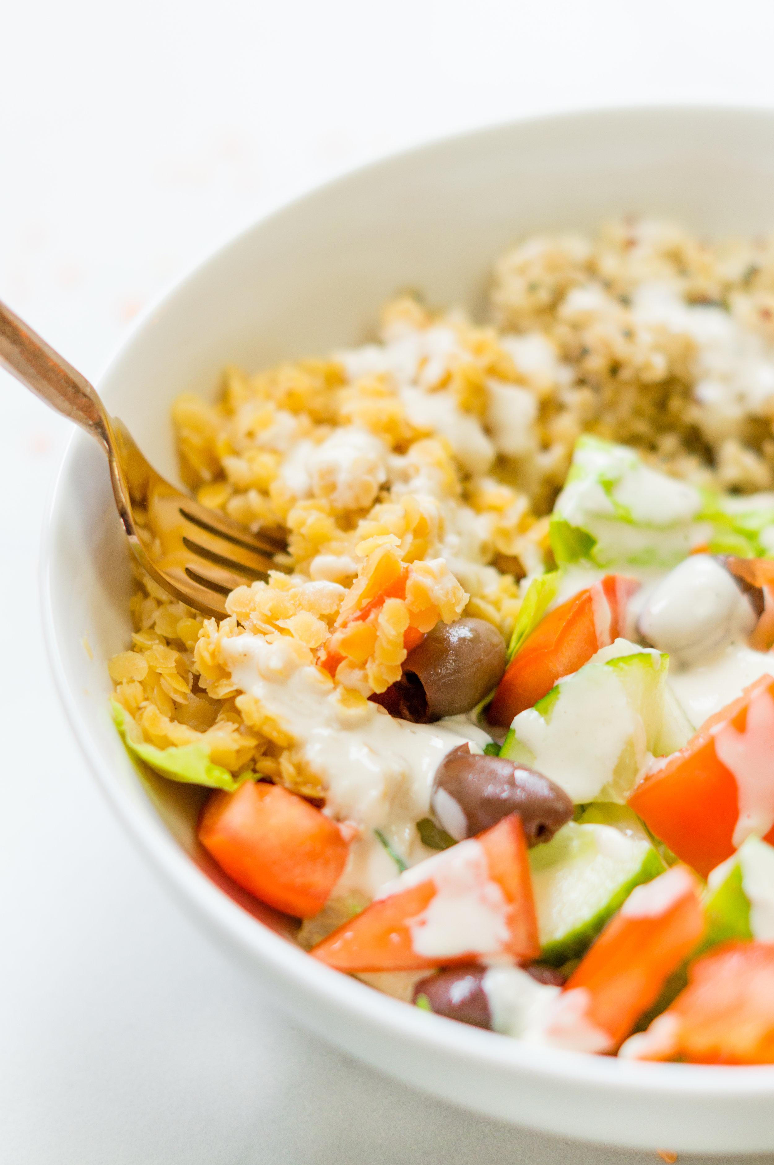 i am rorie, iamrorie.com, i am rorie recipes, i am rorie food, i am rorie mediterranean lentil salad, mediterranean lentil salad, mediterranean style food,easy vegan salad, easy salad recipe, vegan salad recipe, plant protein, salad with protein recipe, vegan salad with protein recipe, red split lentils, roma tomatoes, kalamata olives, cucumbers, lentils,plant based protein, chicago food blogs, i am rorie chicago food blogger, lemon tahini yogurt dressing, vegan salad dressing recipe, vegan salad dressing, how to cook lentils, how to get more protein in a vegan diet, vegan protein, ways to add more protein to your diet when you're vegan, mason jar meals, mason jar salad recipe, mason jar meal vegan, whole foods, clean eating recipes, clean eating vegan recipes, clean eating meal