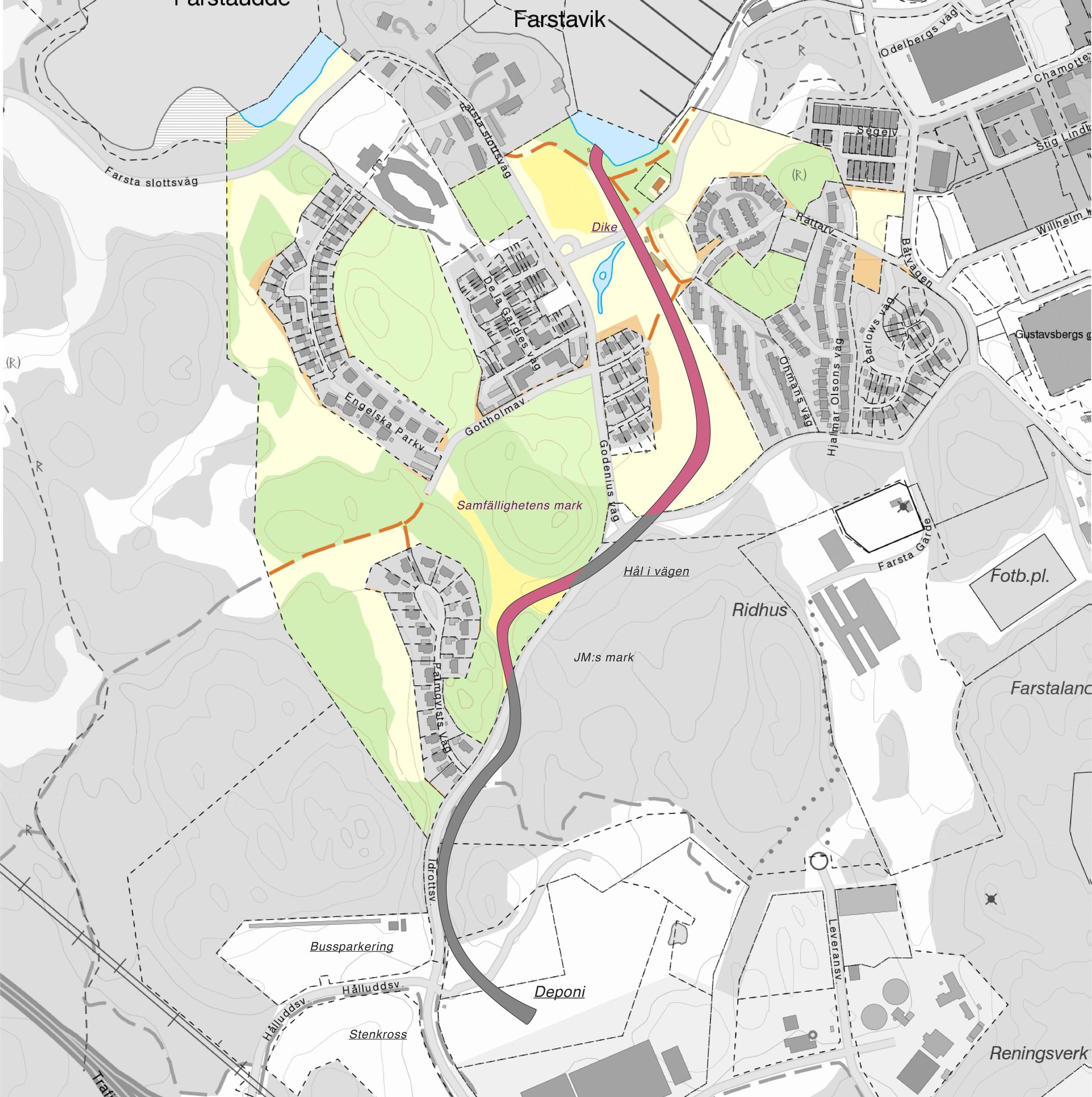 Rörets dragning utmärkt på fastighetskarta. Den färgade delen av kartan utgör Farsta Slottsviks samfällighet.
