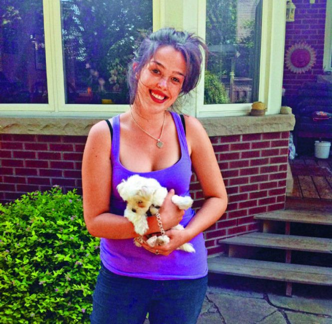 Laura with little dog Lacey