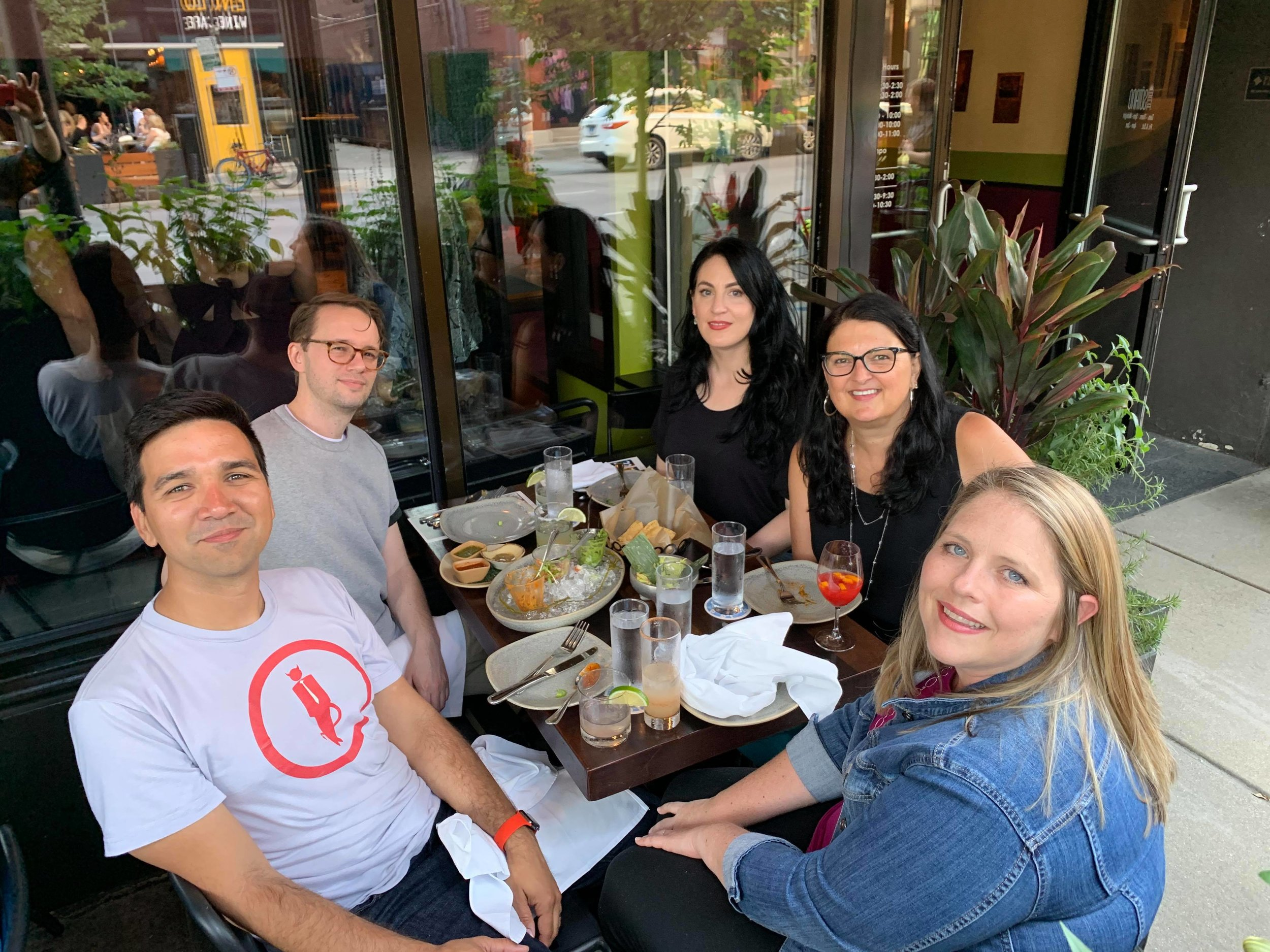 With Javier from Pretend Radio (and his wife at the front), Josh from True Crime Bullshit, and Jules from Hong Kong Confidential