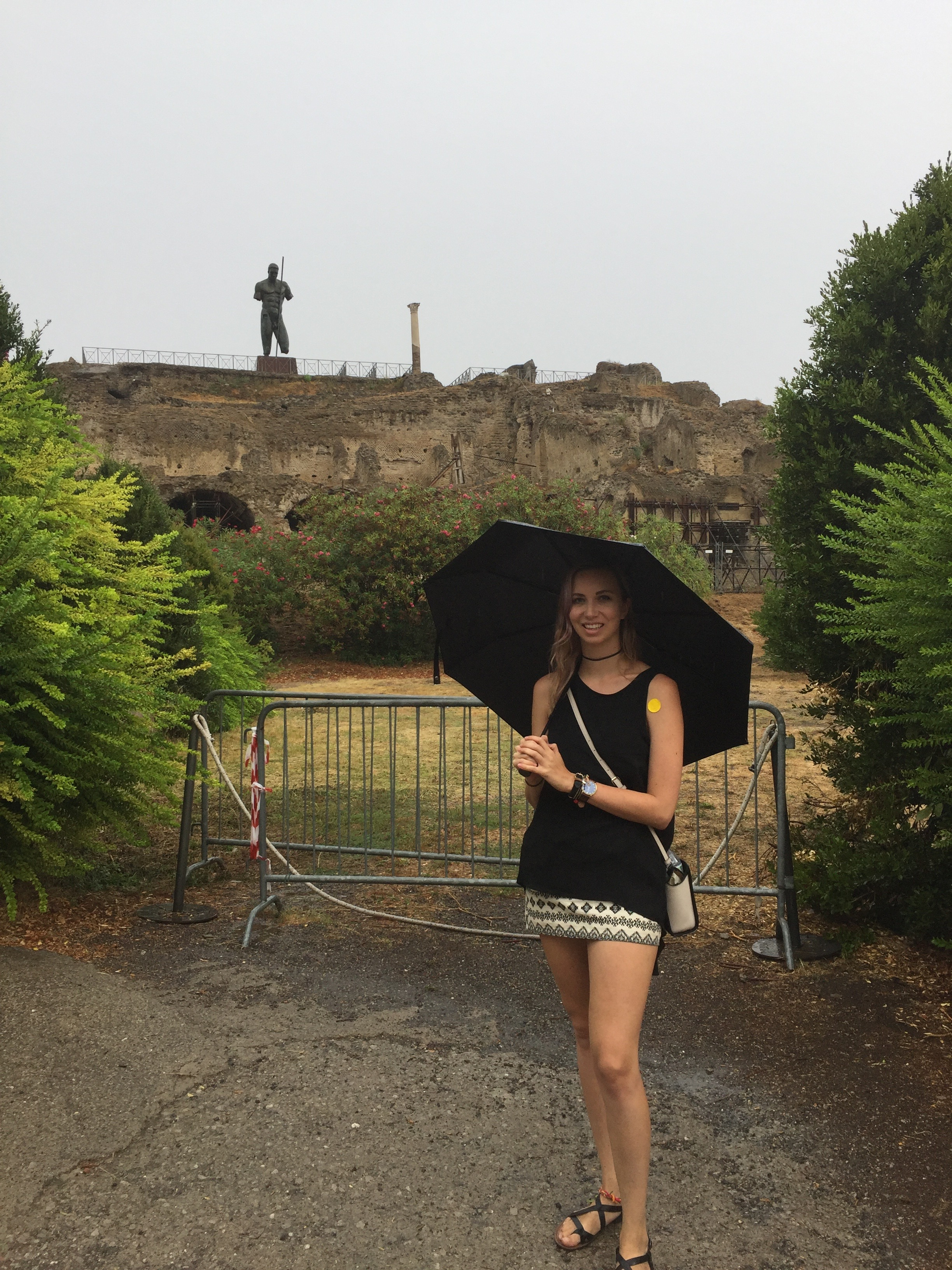 Not letting the rain take away from our weekend while in Pompeii