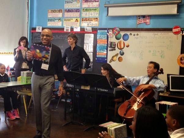 Aaron Dworkin, Damian Woetzel, Cristina Pato and Yo-Yo Ma perform at Spain Elementary-Middle School. Photo Credit: Afa Dworkin.