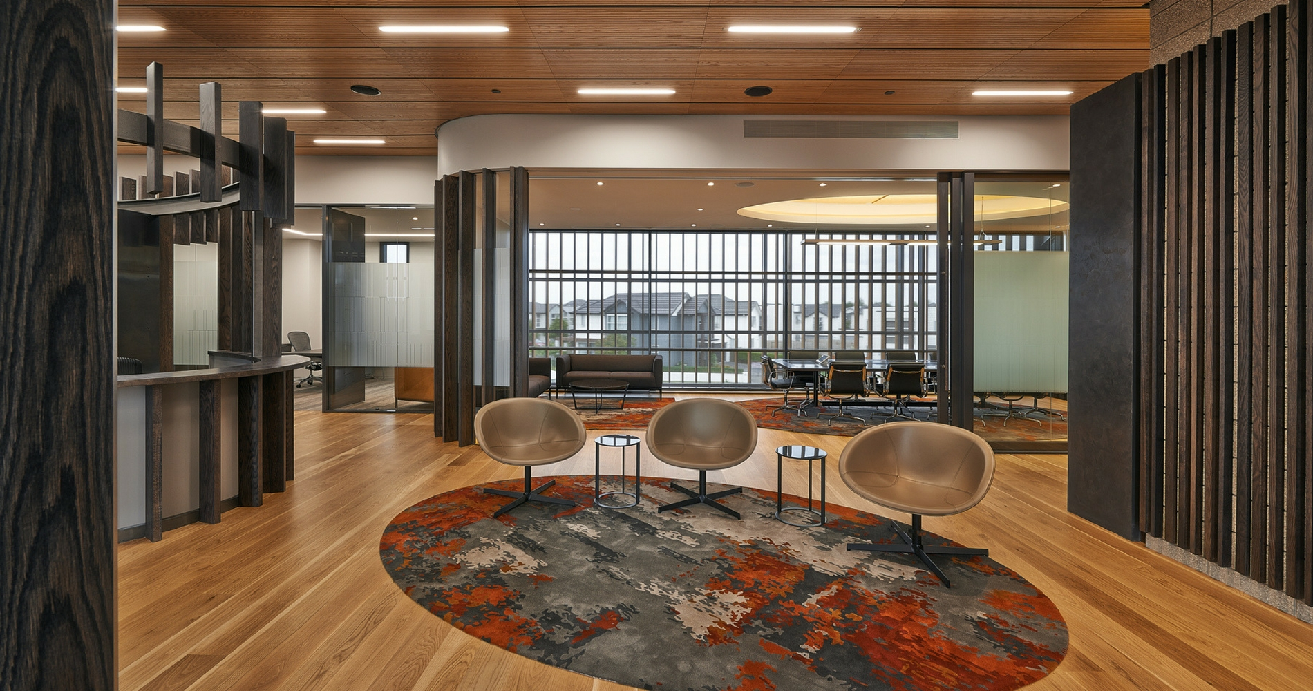 The three bespoke rugs are a standout feature of the client reception area and meeting rooms.