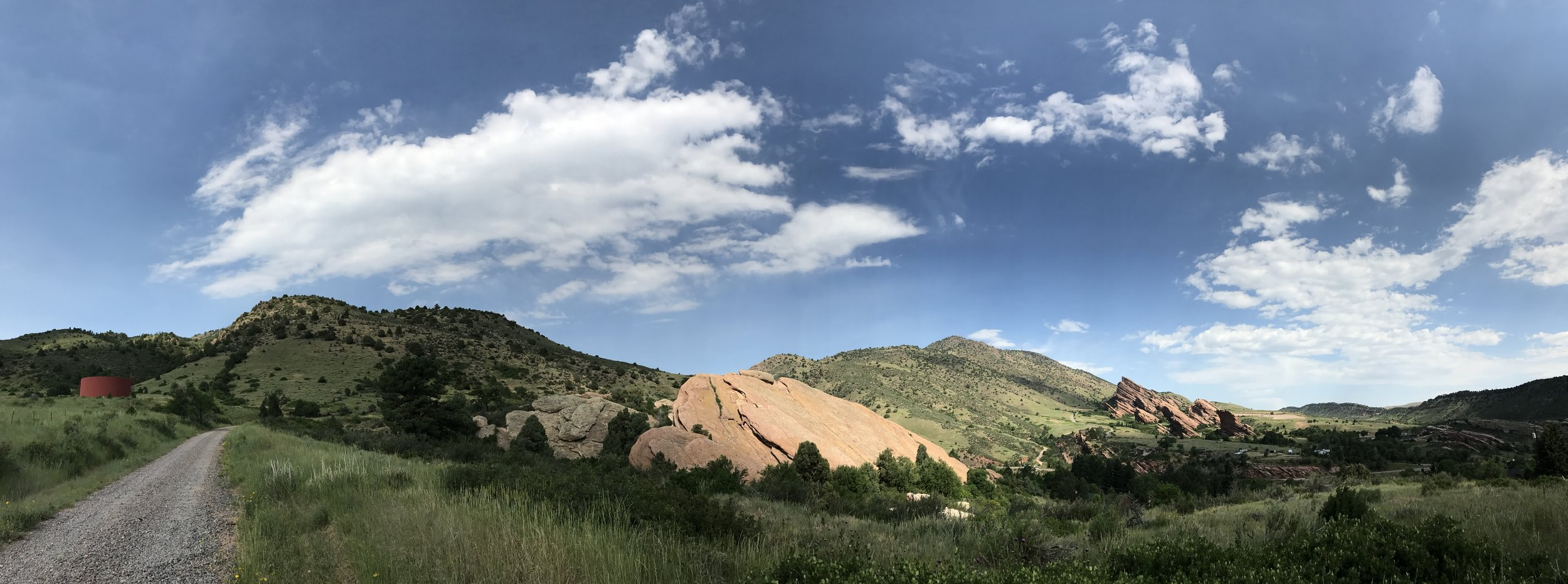 Red Rocks Amphitheatre, far right, as viewed from our hike