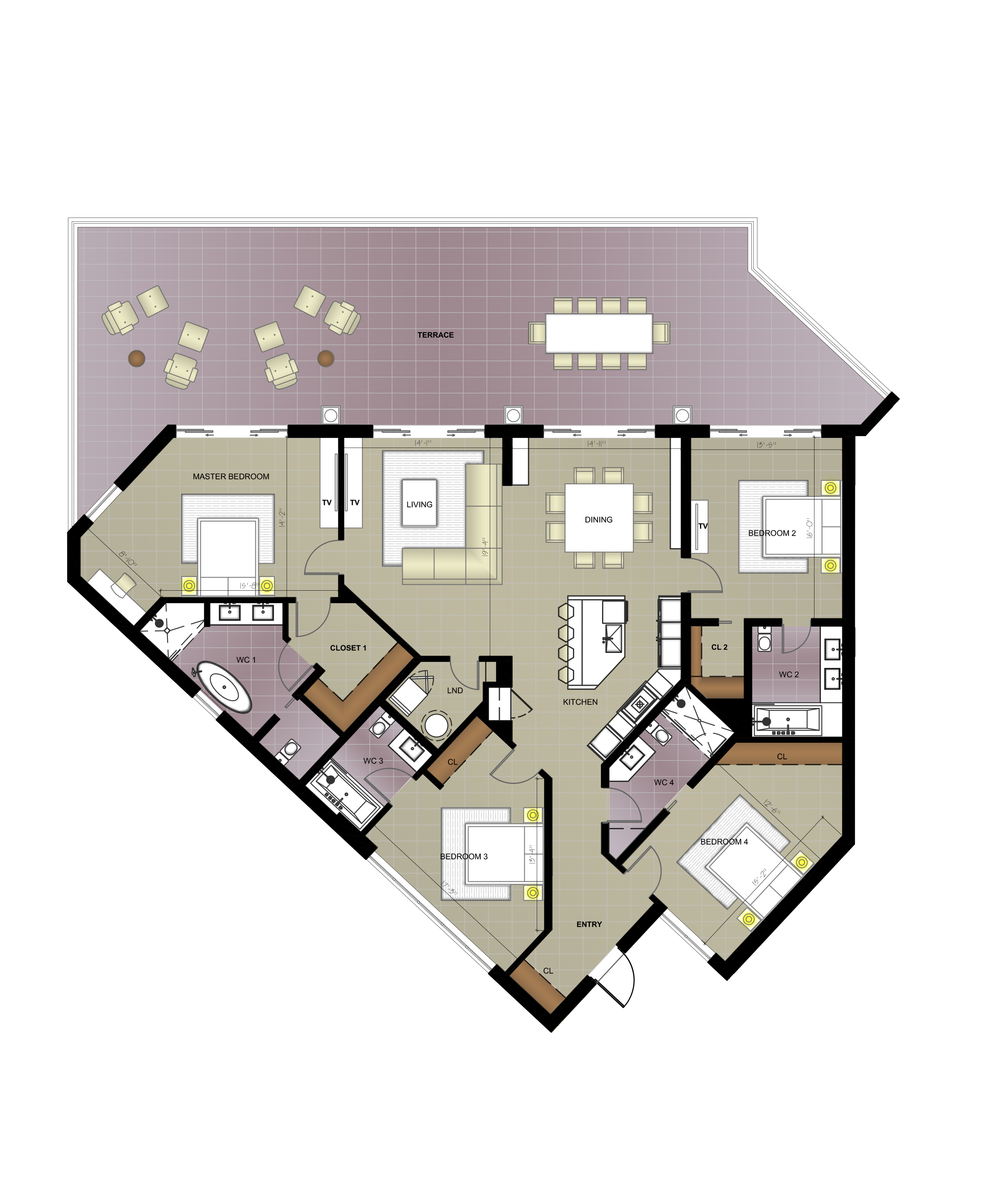 RESIDENCE #501/502 - 4 bed · 4 bath · 3,800 SQ FTThis combined, corner residence includes a master suite with a walk in wardrobe and soaking tub, three ensuite bedrooms, entertainers kitchen with quartz counter-tops and stainless steel appliances, spacious lounge, guest bathroom, generous indoor/outdoor dining areas, and private balcony overlooking the ocean. The 3,800 square foot unit also includes reserved underground parking and private cabana access.Listed at US$3,570,000