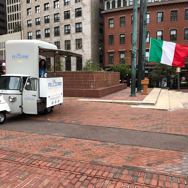 We're on City Hall Plaza for the #italianflagraising giving out free #espresso and cannoli! #tricolore #italyinboston #italianheritagemonth