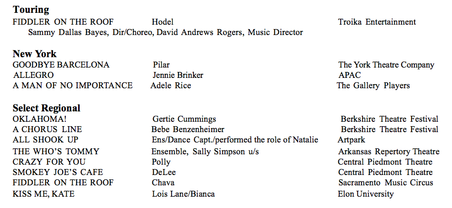 *Member of Actors' Equity Association
