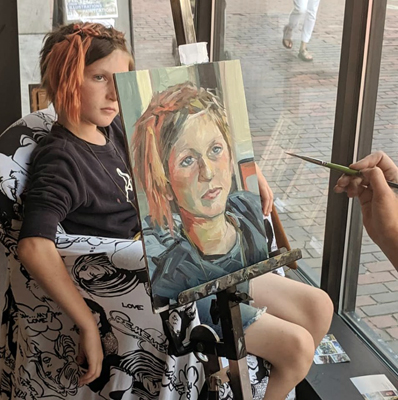 """$942 to go to Non-Profits - During my August 2019 UMVA exhibit, I """"live painted"""" portraits of friends who work for or support non-profits and auctioned them off to the highest bidder. All proceeds are going to their causes. Thanks to all of the winning bidders!"""