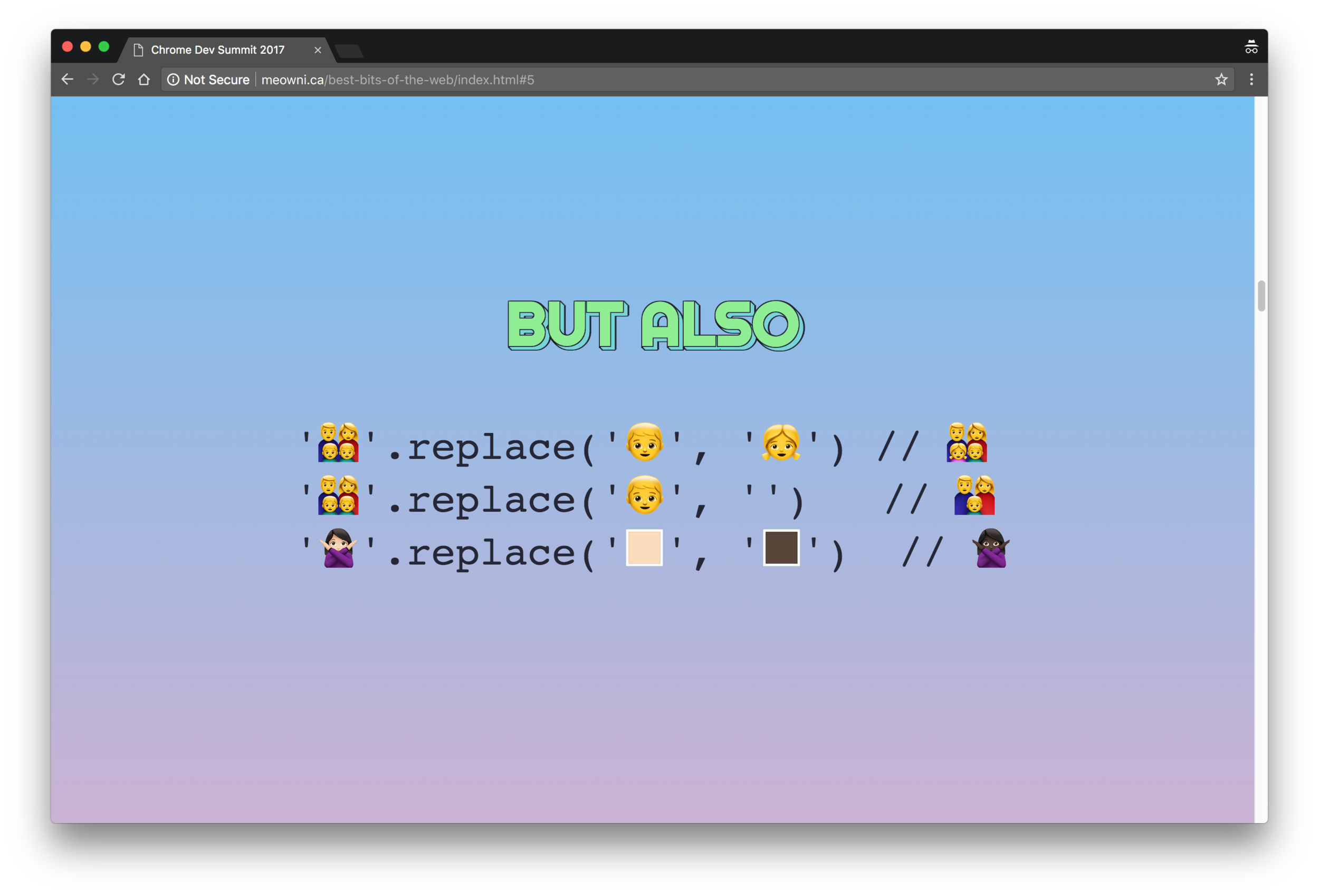 Emoji properties can be modified or deleted.  Demo code  by  @notwaldorf  and  @kosamari .