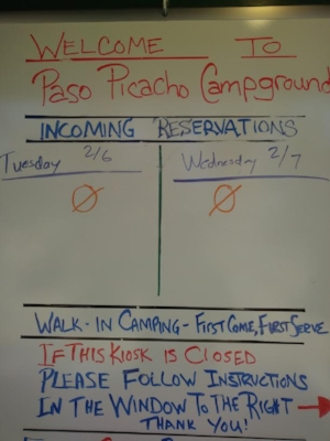Paso Picacho Campground. No waiting for a table.