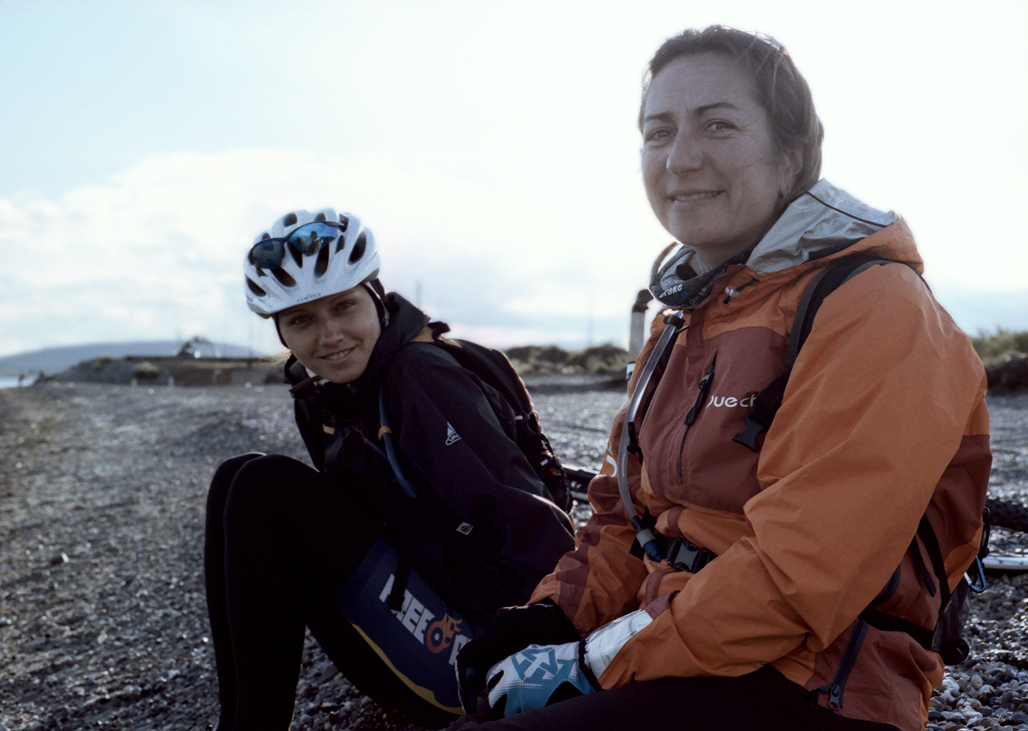 Kristina and Pascal, Pebble Shore, Patagonia, Chile, South America, 2012