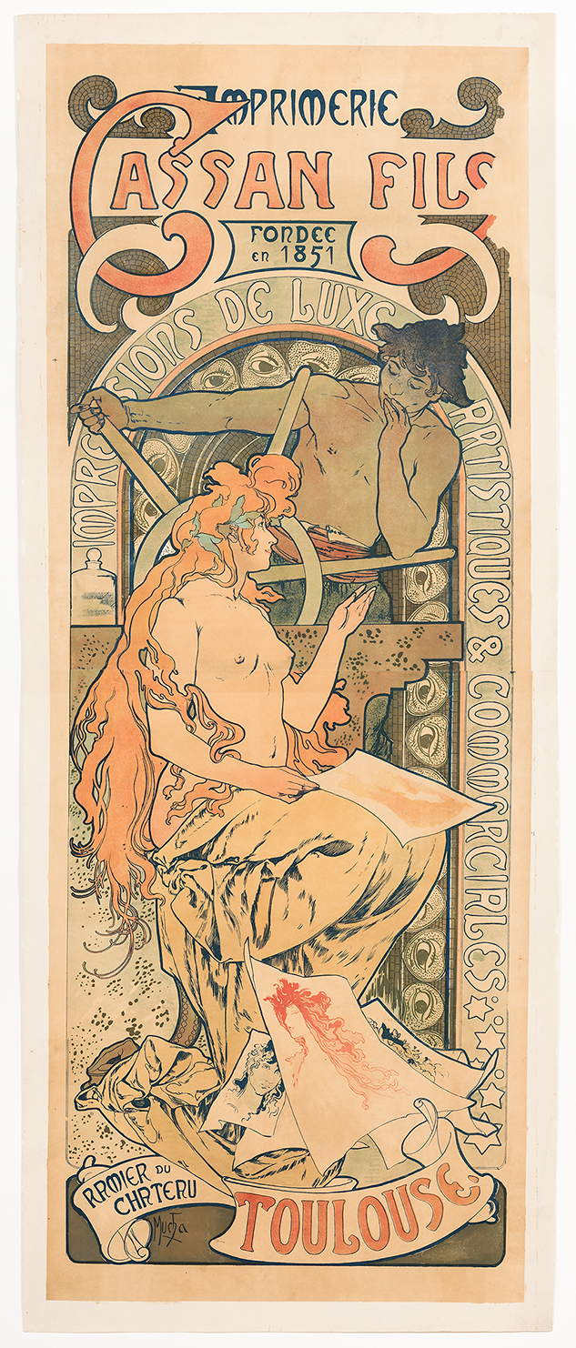 Alphonse Mucha  (Czech, 1860-1939)   Cassan Fils , 1896  Color lithograph  78 x 35 1/2 in.