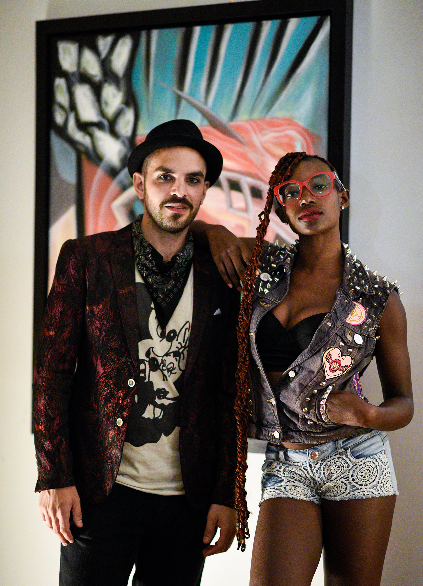Orgullo Artist's Reception for Aquiles Avalos   (from L to R: Panther and Iyanna James)