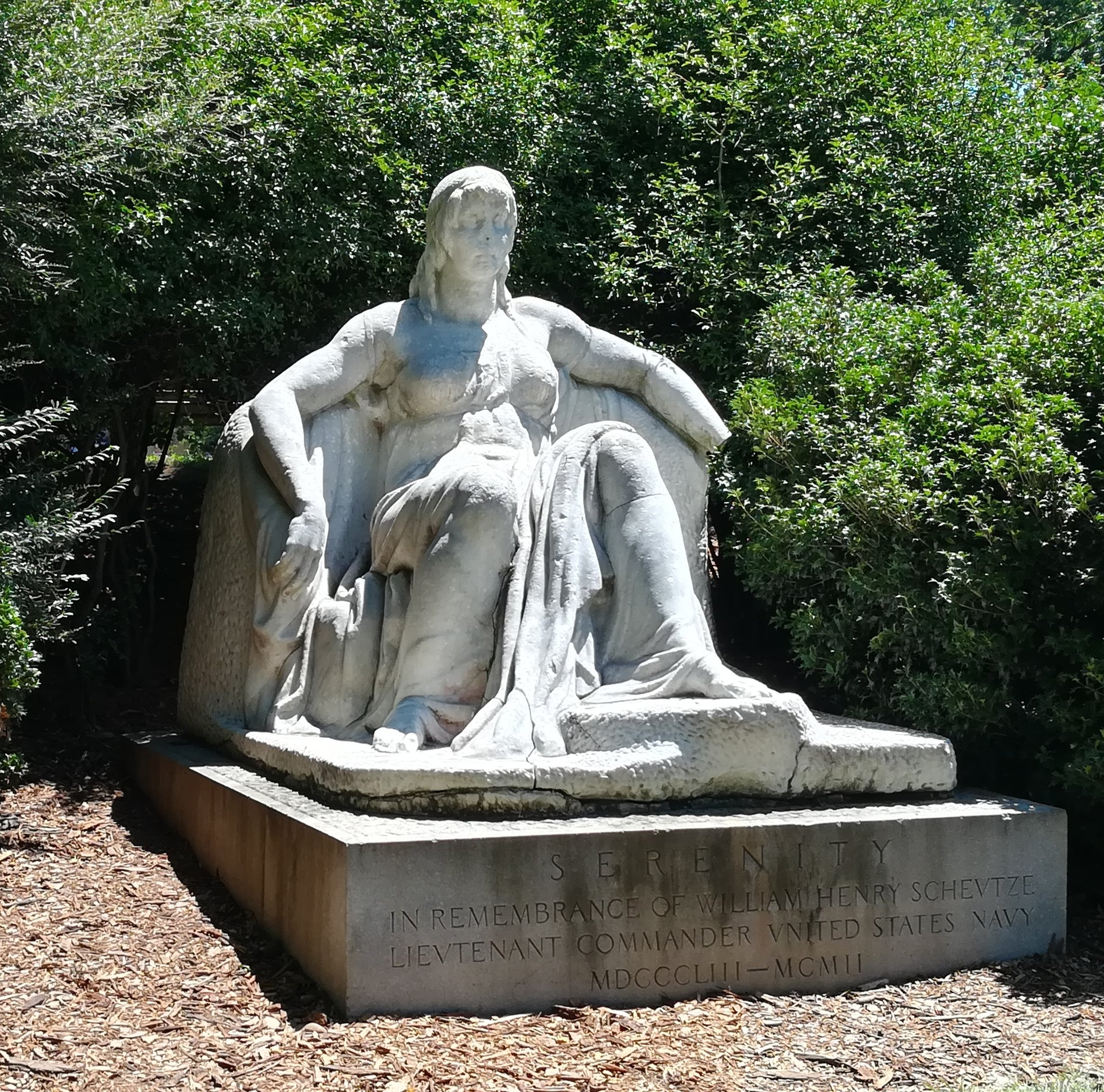 """Serenity here """"honors an obscure naval officer named William Henry Schuetze,"""" according to  Atlas Obscura .It's the most vandalized memorial in Washington, DC. They spelled the guy's name wrong to boot."""