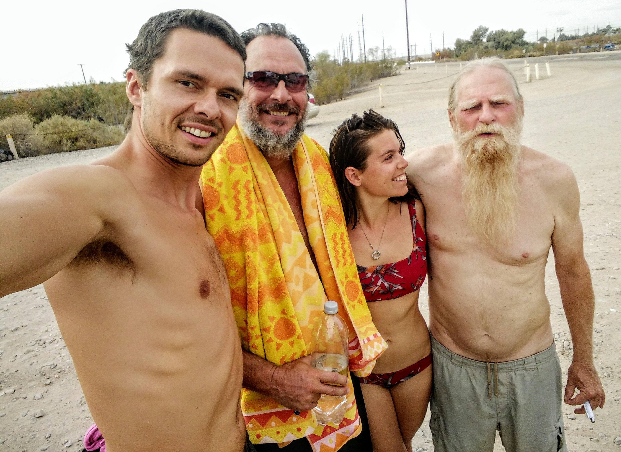 Our new friends Tom and Les. Tom, on the right, generously offered us a parking spot in front of his trailer at Slab City and Les was our fearless guide through all things weird at wild at The Slabs. We will remember them fondly and forever.