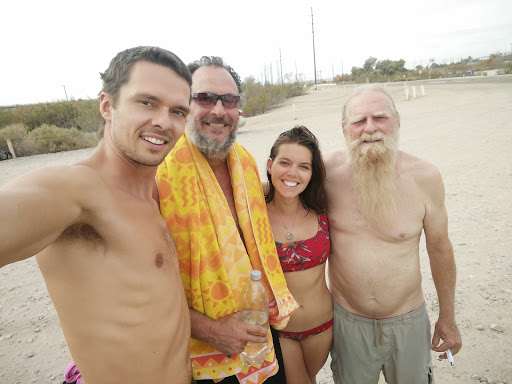 At Holtville Hot Springs with Les (is more) to my left and Tom, on the right. Tom offered to let us stay at his trailer at Slab City, and Les escorted us there personally, making sure we felt safe and had fun. These two gems will not soon be forgotten.