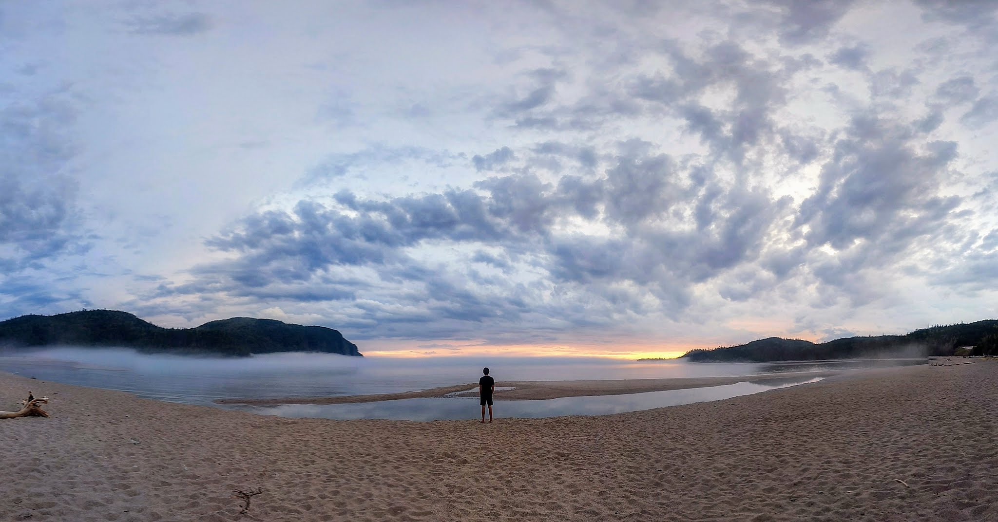The stunning Old Woman Bay at sunset on the shores of Lake Superior.