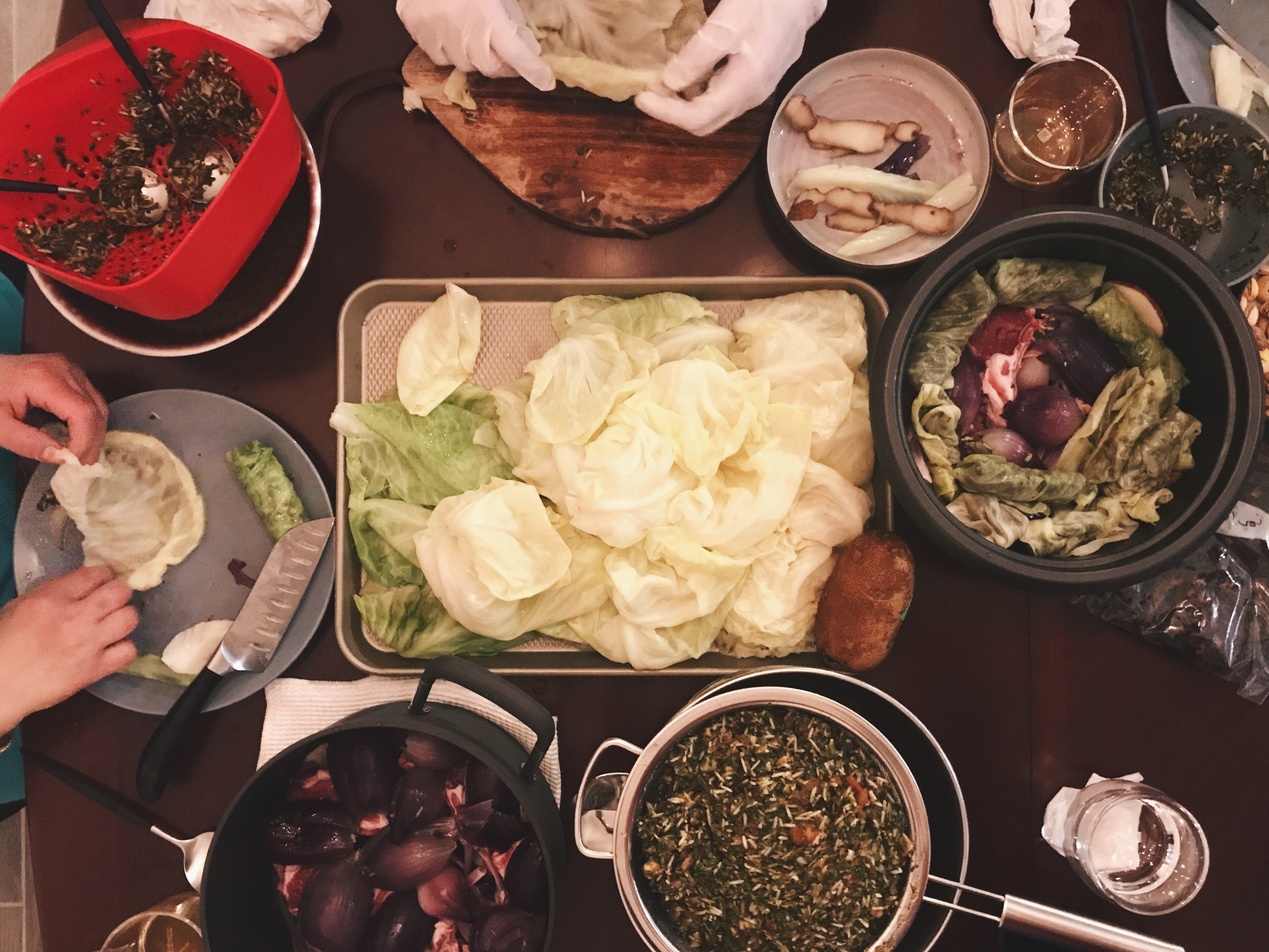 My mum and sister-in-law came to visit me, so naturally I had them help me make dolma.