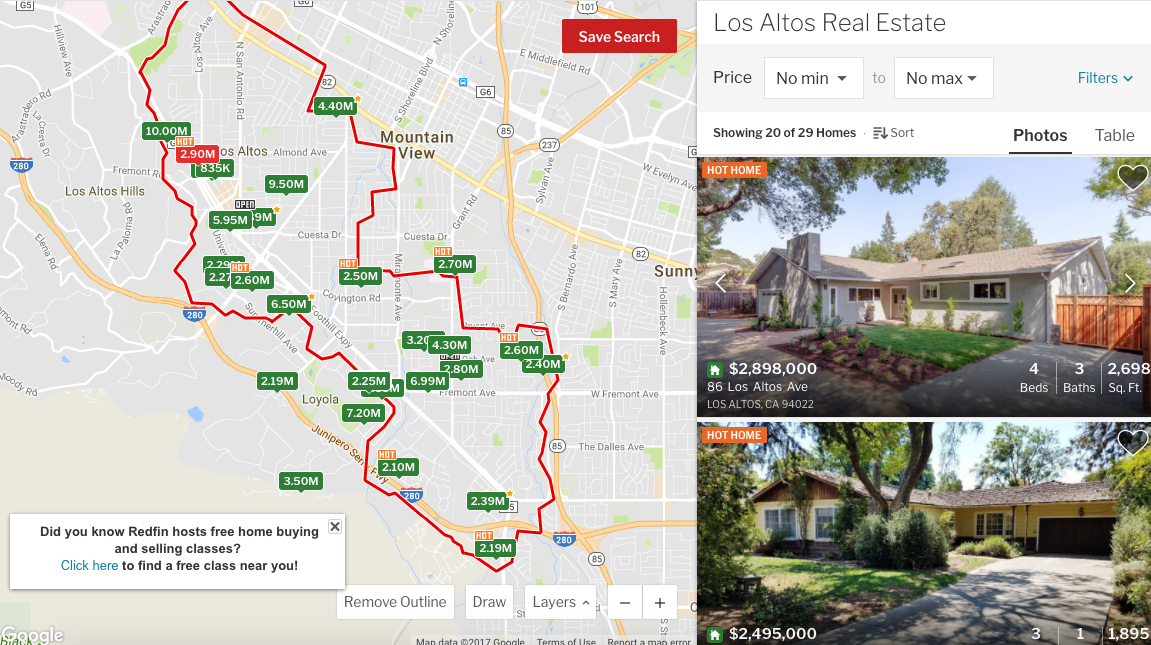 A screen cap of Redfin showing housing prices in Los Altos, CA, where I worked as a reporter.