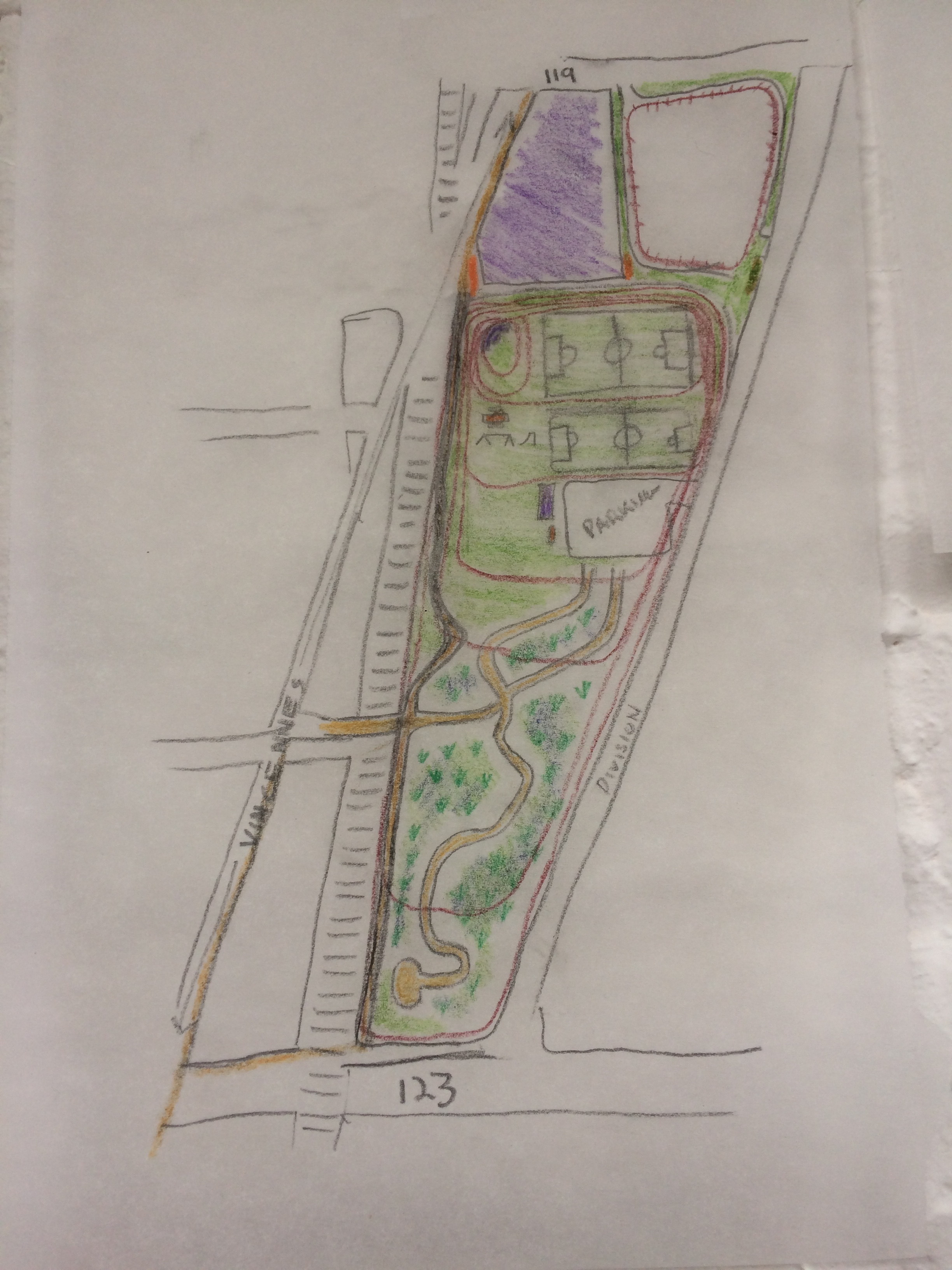 The site plan proposed. Drawn by writer.