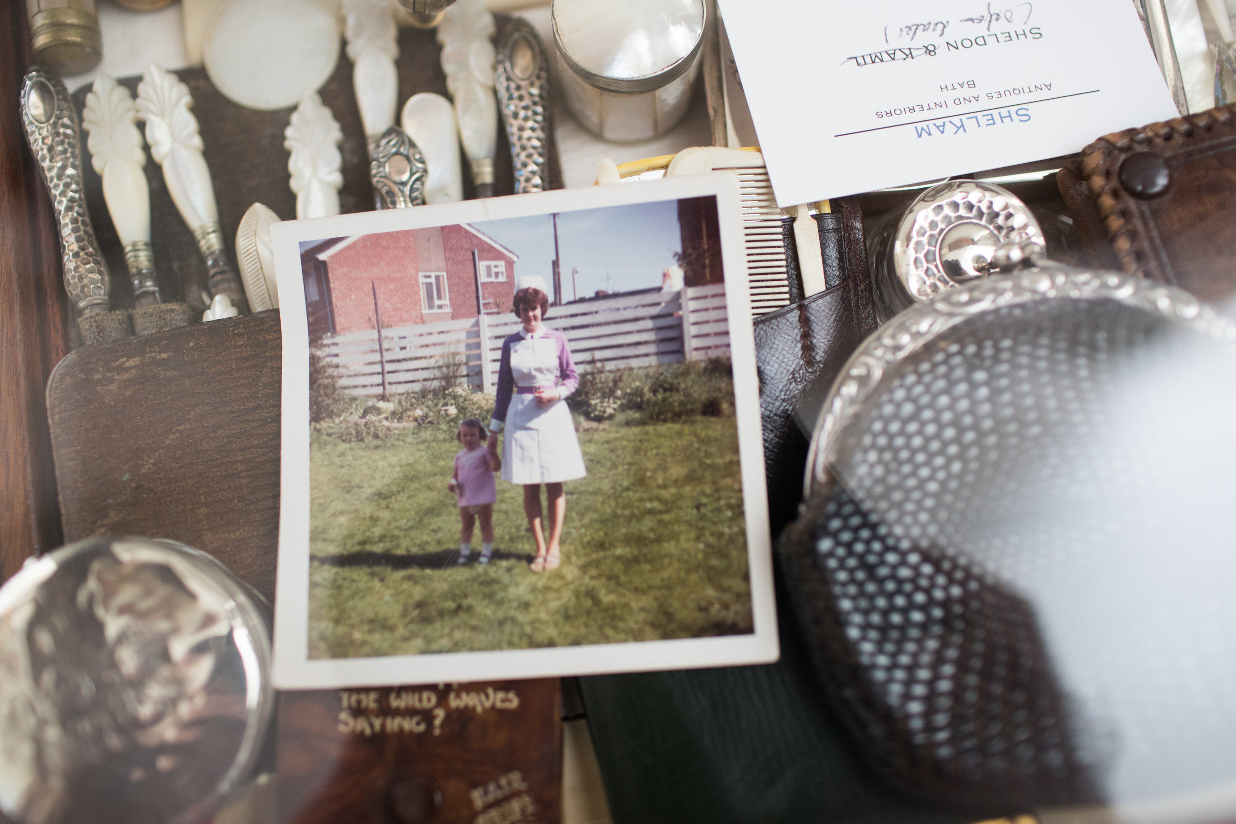 A detail of the above display cabinet  My grandma Sue was a staff nurse at the hospital for 42 years. Here is a photograph of her and my Aunt Sarah as a baby. She thinks it was taken with the box brownie she gave me. Must continue tot ry and get some film for it...