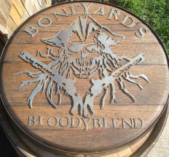 Custom Metal Logo on Oak Whiskey Barrel Lid - $199