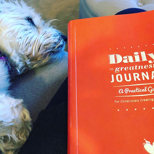 I remain committed to my journaling practice and apparently Ella does to!  My journal companion.  #dailygreatnessjournal #dailygreatnessbusinessplanner #2018empowermentyear