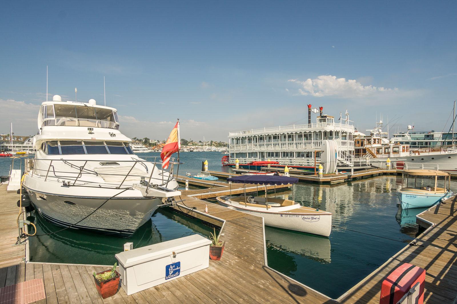 Lido Marina Harbor view  in Newport Beach from Nobu restaurant and Zinque restaurant