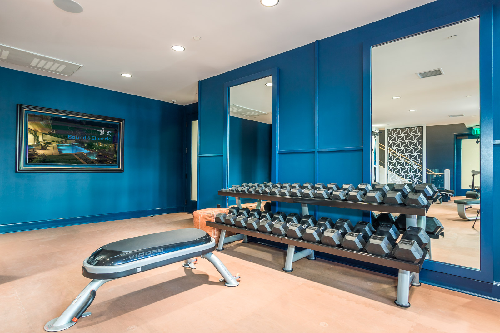 modern luxury condos in laguna nigel at Broadstone cavora with a modern gym with All audio video Installed by silver Starsound and electric