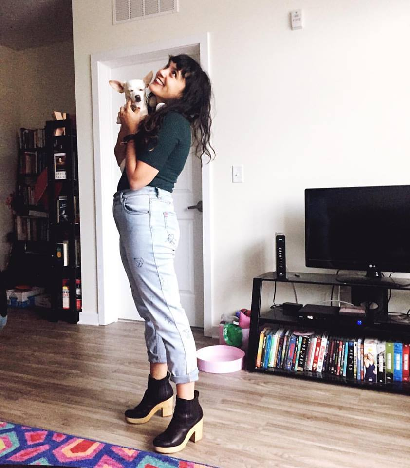 Top from H&M; BDG Girlfriend Jeans from Urban Outfitters; Booties from Madewell