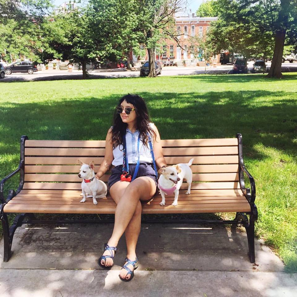 With my pups Knives and Rudy at Riverside Park in Baltimore: top from Madewell; Shorts from Forever21