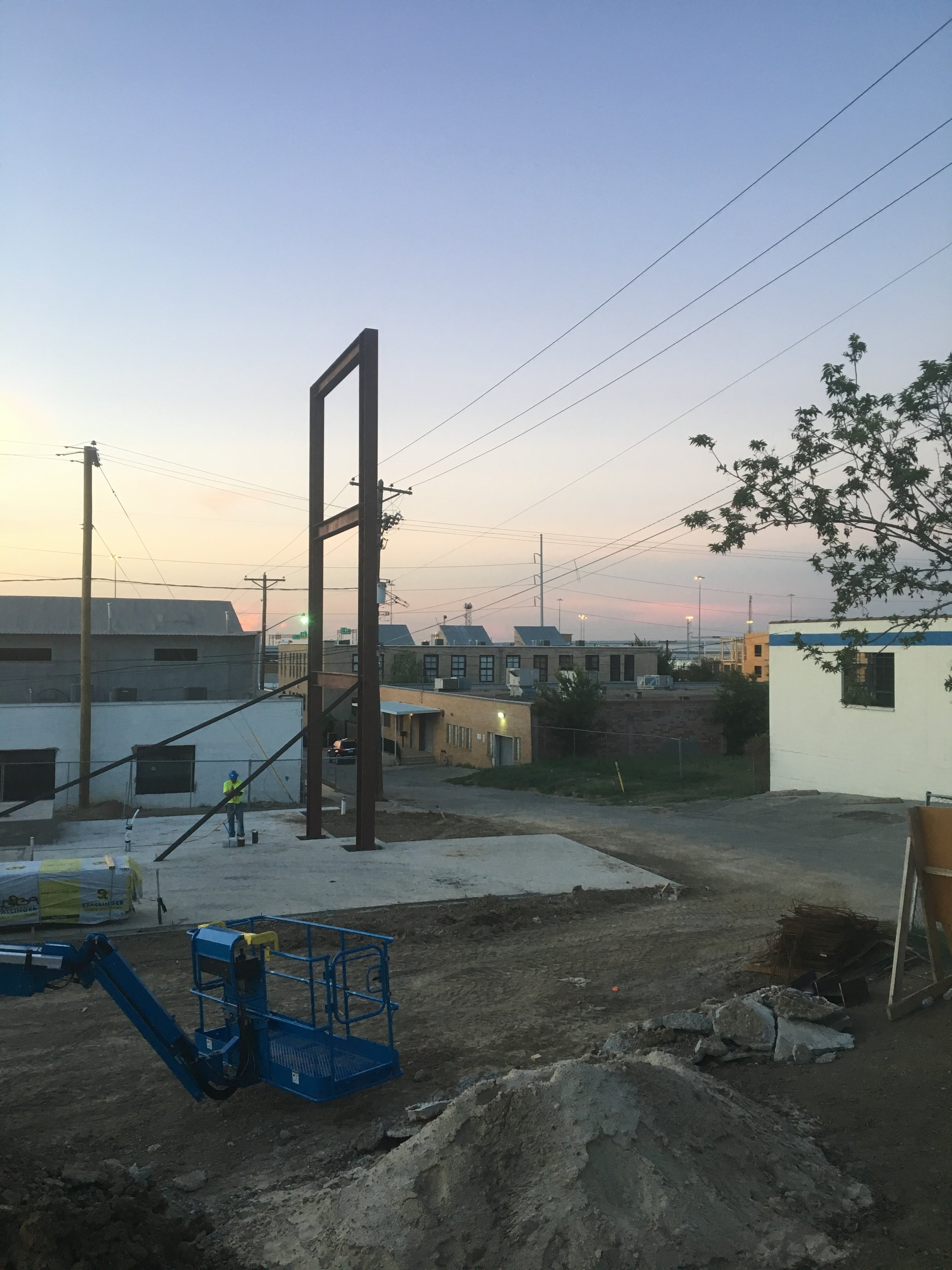 Looking northeast from the adjacent property over the construction site