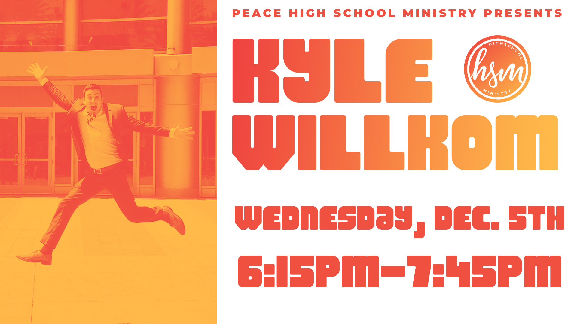 Be A Hero.  Bryan's brother Kyle is a professional speaker and travels the country inspiring teenagers with positives messages. Kyle will be speaking to Peace 6-12 graders on Wednesday, Dec. 5th at 6:15pm about what it takes to truly be a hero. This event is open to all teenagers. Don't miss it!   #beahero #herochallenge #kylewillkom  Learn more about Kyle here: www.kylewillkom.com