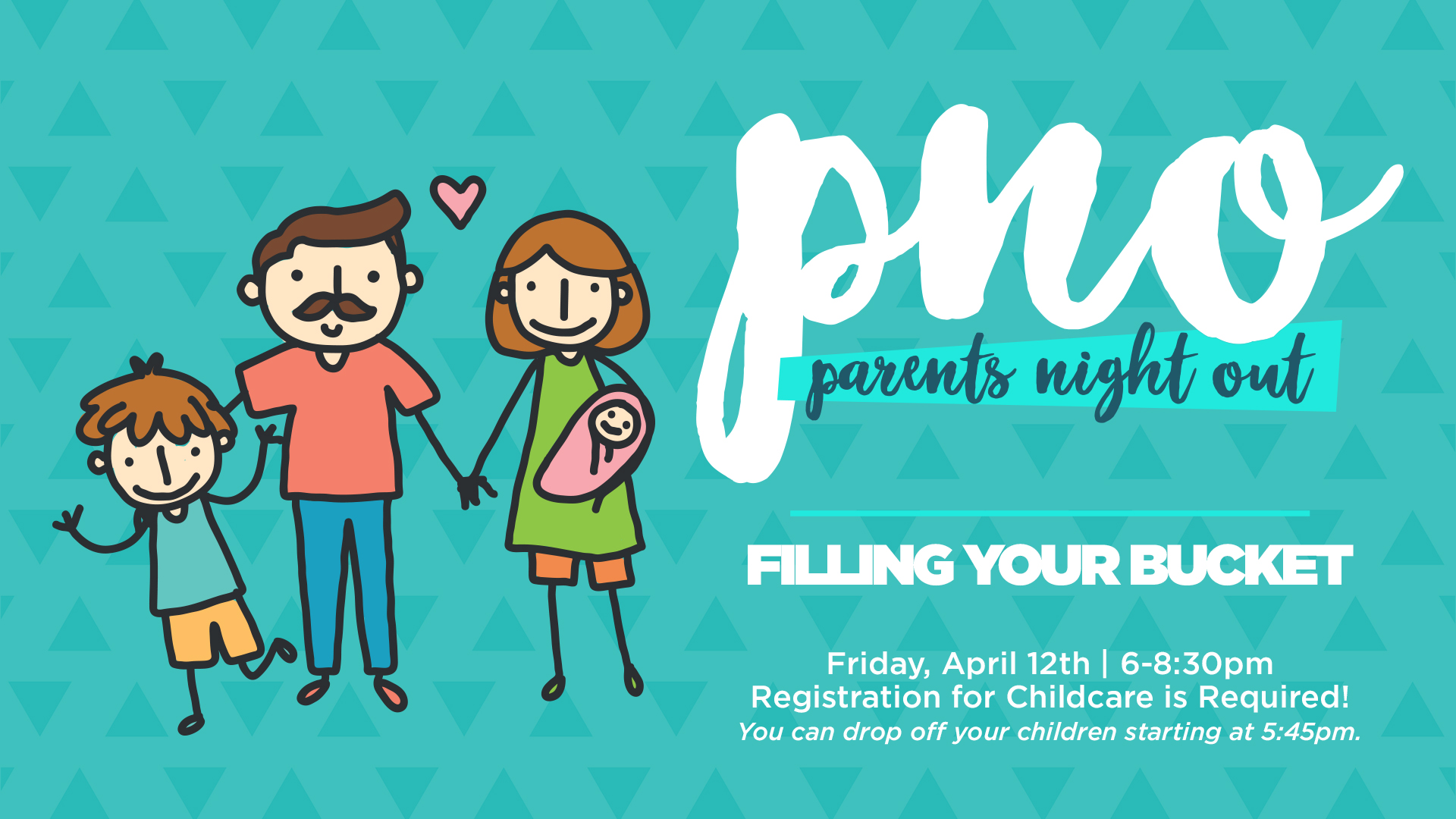 "April's PNO is continuing off the theme from March, ""Filling Your Bucket"". This is open to any parents with young children, ages 0-5th grade. Parents can drop off pre-registered children starting at 5:45pm. At 6pm, there's a short motivational talk in the Refuge before couples leave for their date. Children must be picked up by 8:30pm. Children must be registered in order to have appropriate child care workers. Use the form below to register. If you have questions, contact KristinB@MyPeaceChurch.com."