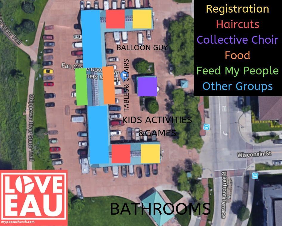 This is an overhead view of the Phoenix Park - Farmer's Market location in downtown Eau Claire.  This is where the event will be held on Monday, August 5th from 5-7pm.