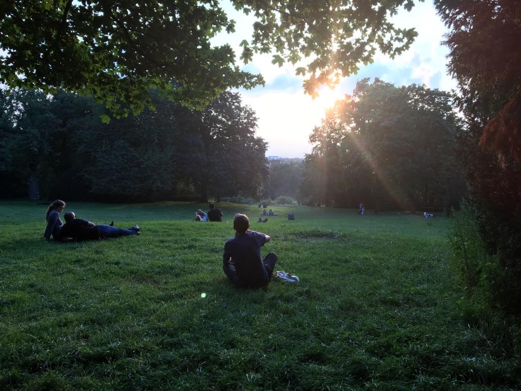 Sunset at Berlin's Viktoriapark in Kreuzberg neighborhood
