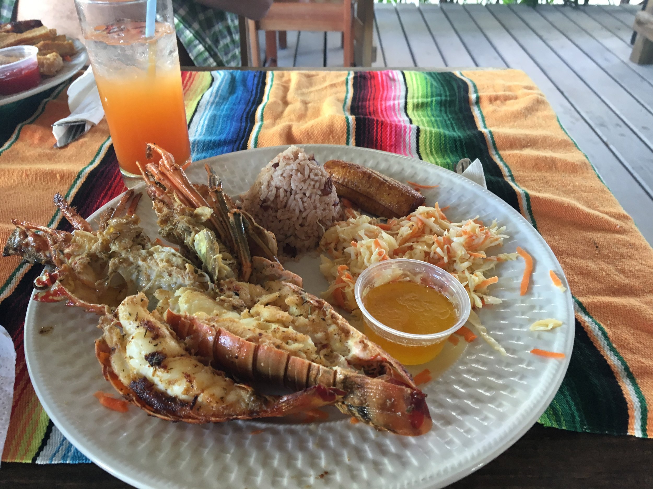 Lobster and rum punch at Rose's Grill