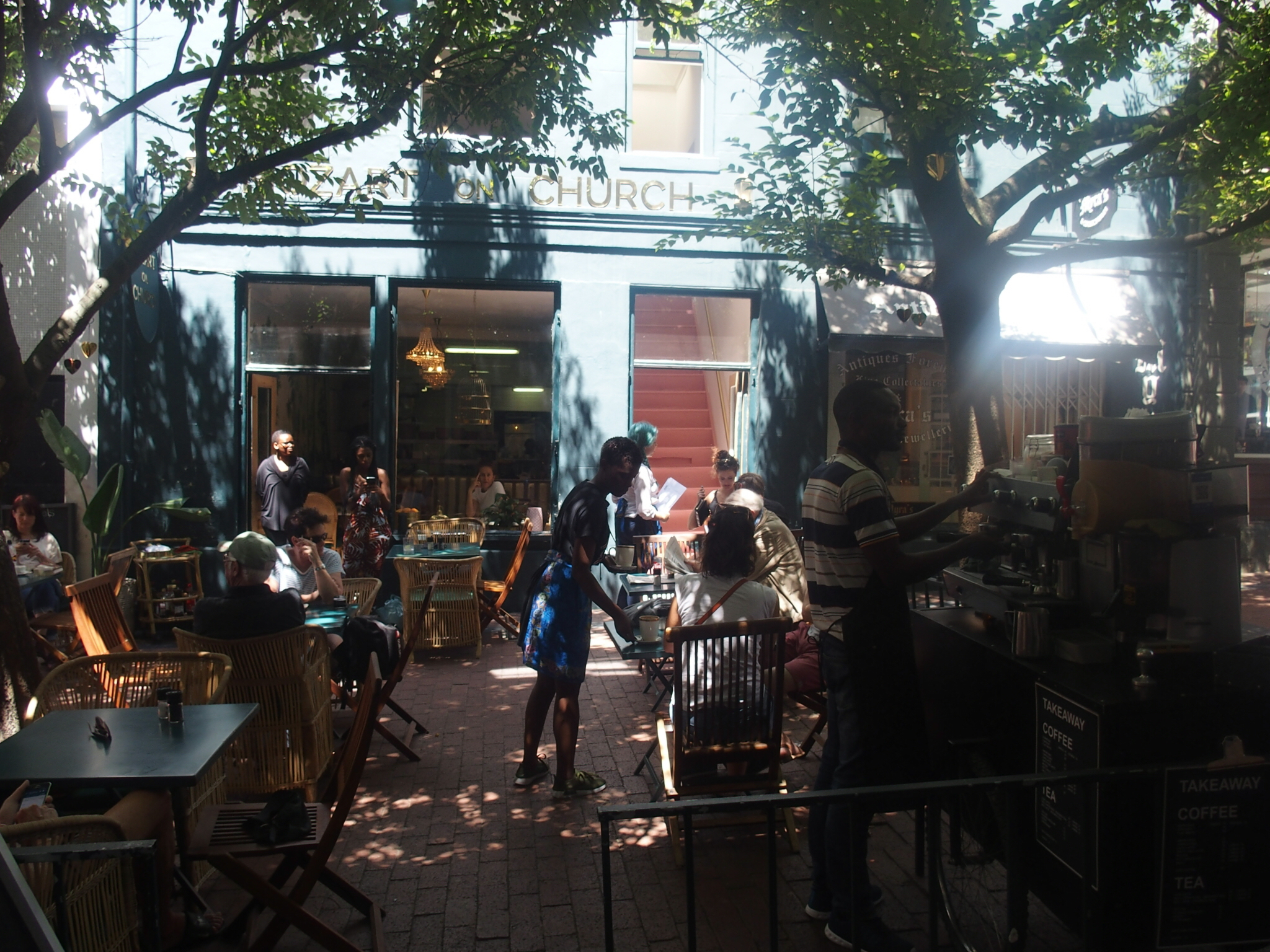 It felt surprisingly mellow in Cape Town, like at this café in the city center.
