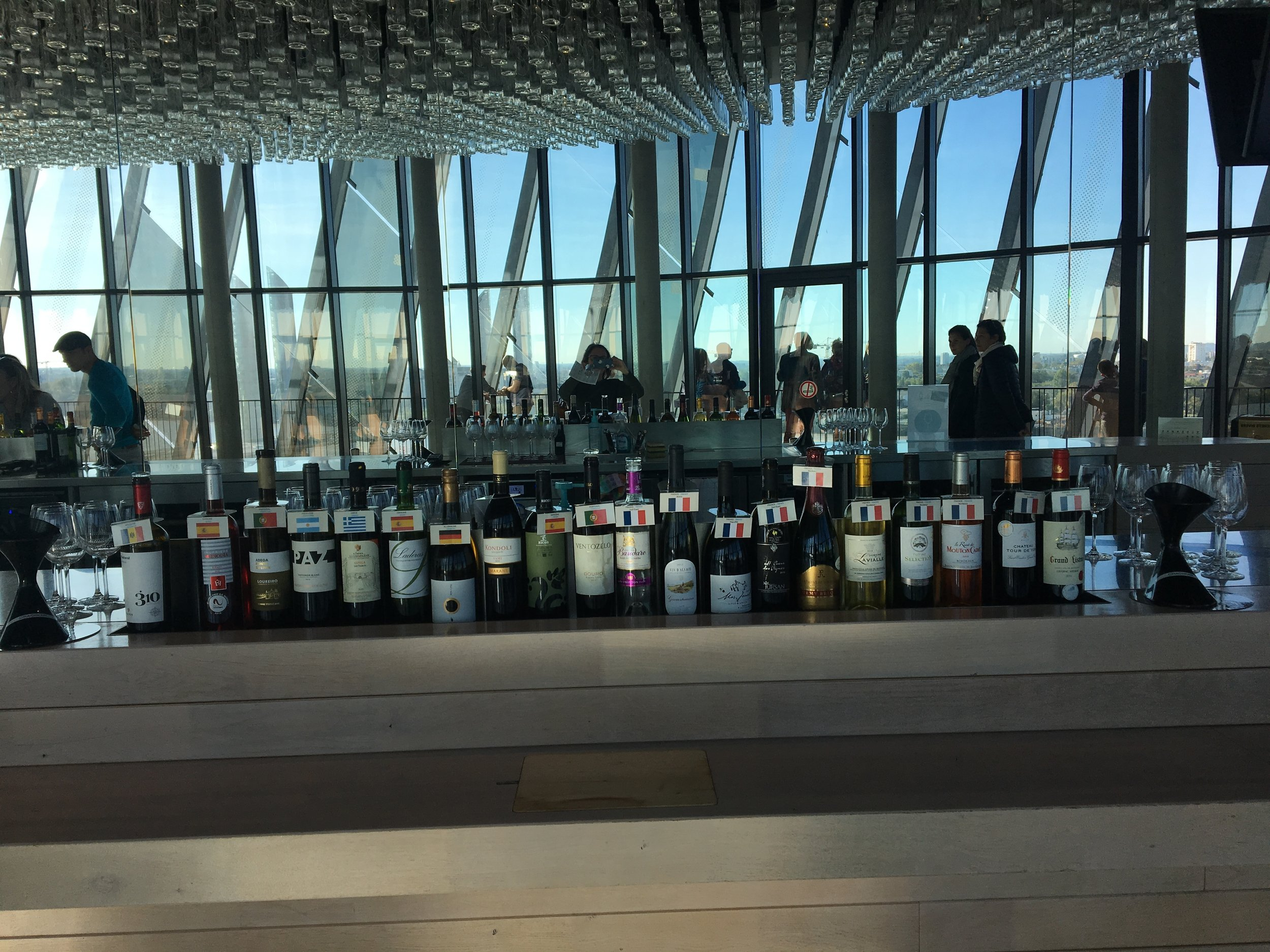 The ticket to the museum includes a glass of one of about 15 wines from regions around the world in the scenic tasting room