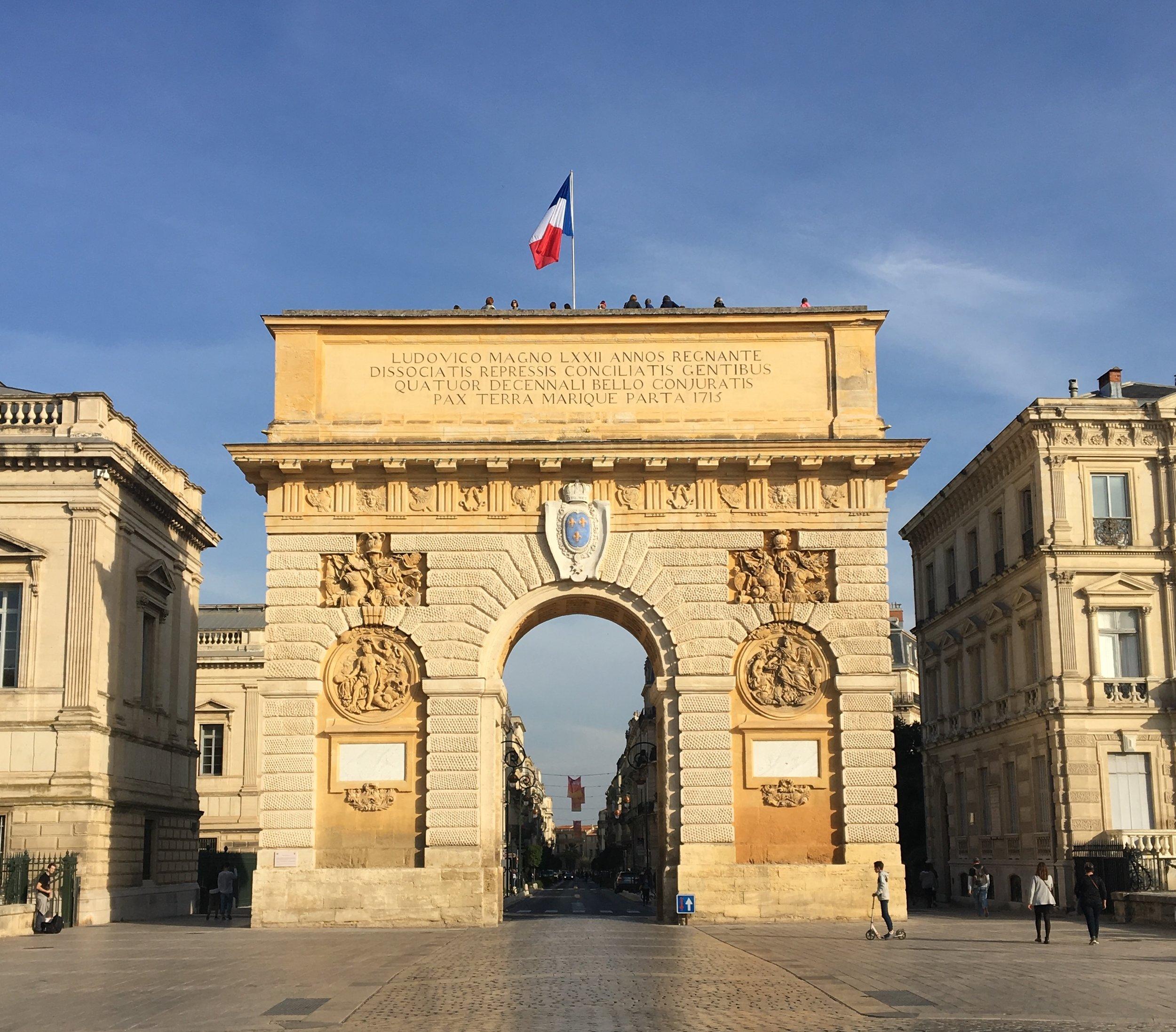 Montpellier's Arc de Triomphe, also known as Place de Peyrou.