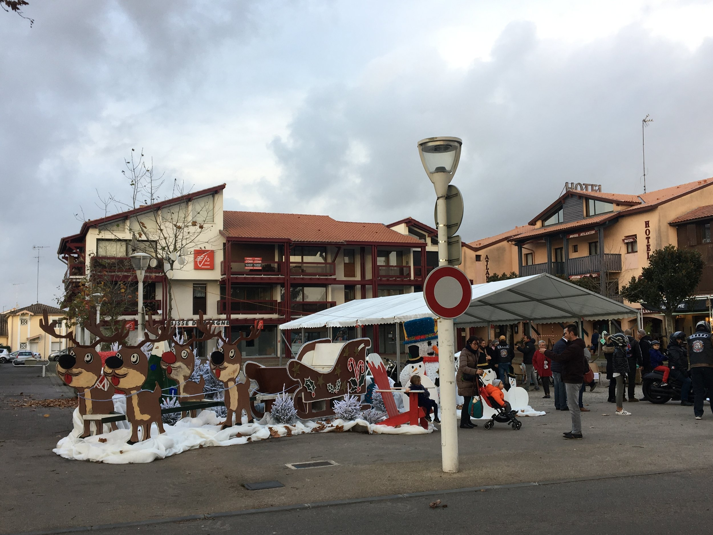 Decorations for the town Christmas market in the town square