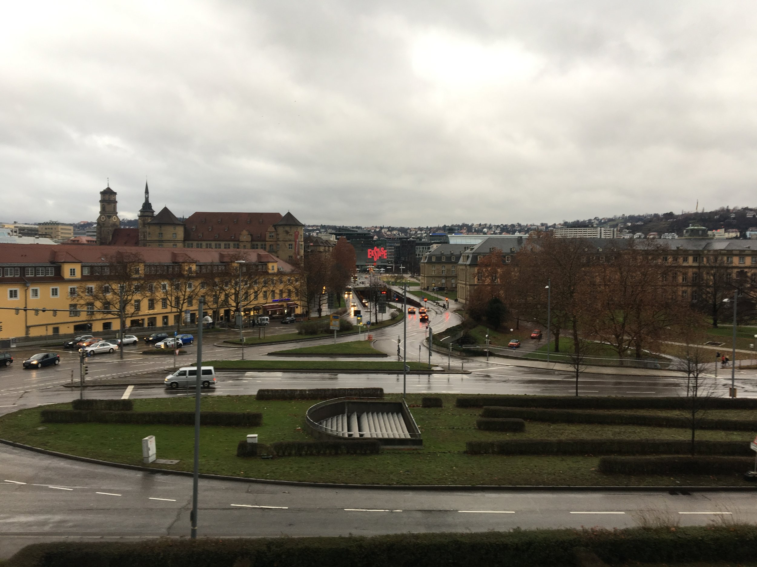 A view of Stuttgart from its Stadtmuseum on the grey, drizzly Sunday I visited