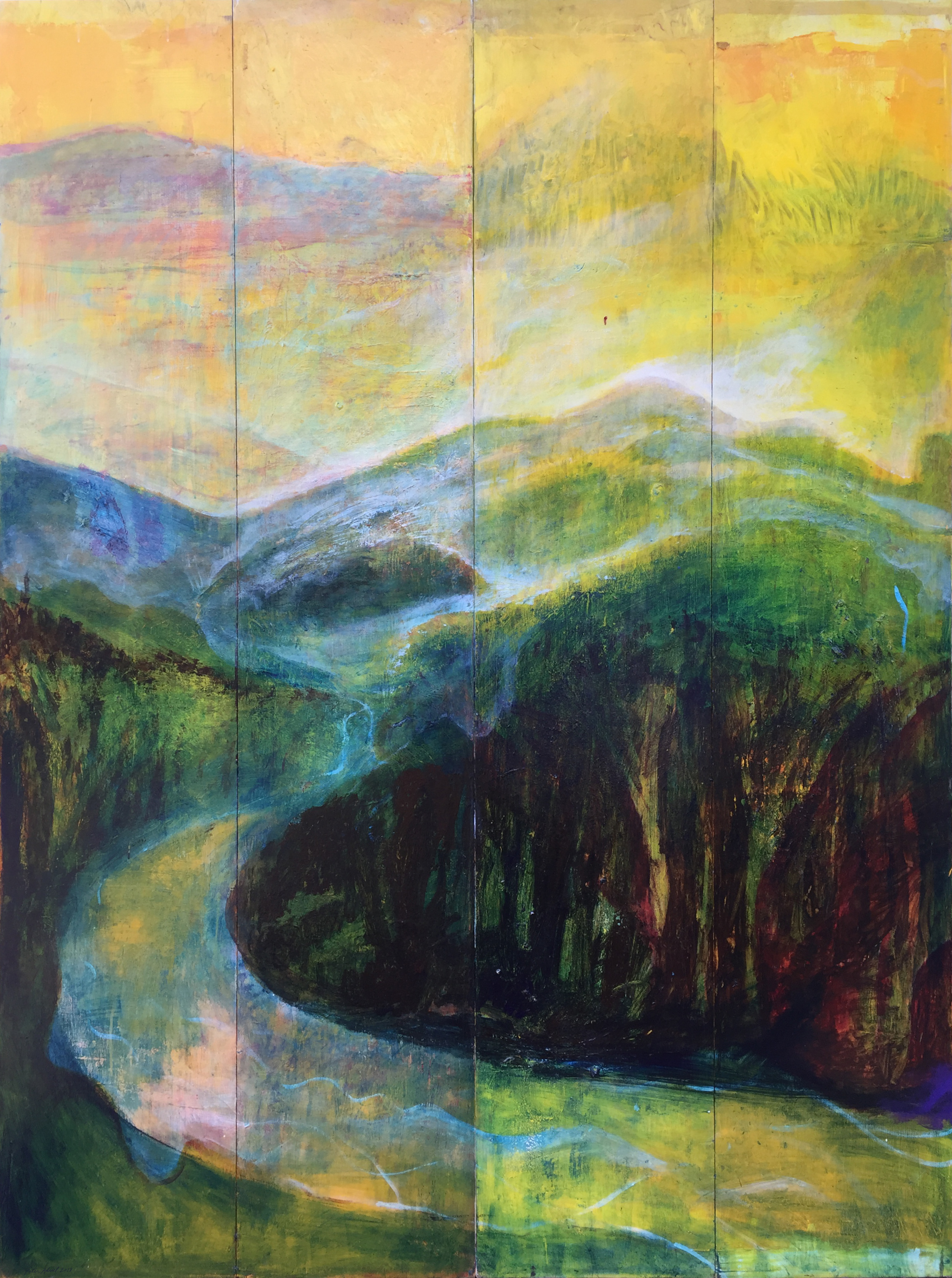 """Peter Adriel. Mountains. 2018. Acrylic on wood panels. 79"""" x 59"""""""