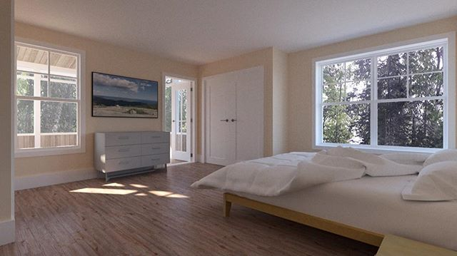 Model and illustration I made using Sketchup, V-Ray, and Photoshop. This is the master bedroom in an island house by Maine architect John Gordon. A door opens to a private 2nd-floor screen porch with views of the bay through trees. #sketchup #vray #photoshop