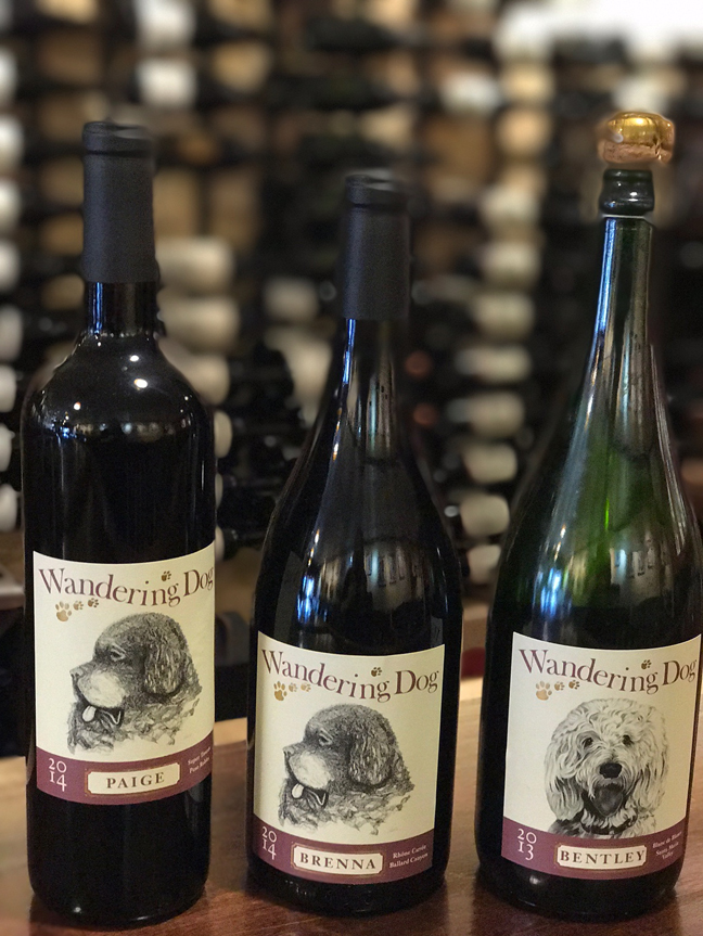 Some of the wines produced by the owners of Wandering Dog Wine Bar in Solvang.