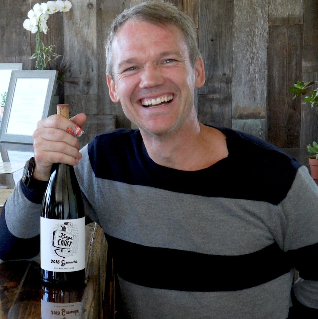 Sparks at Liquid Farm's Lompoc winery slash tasting room, where he also pours Kings Carey by appointment.