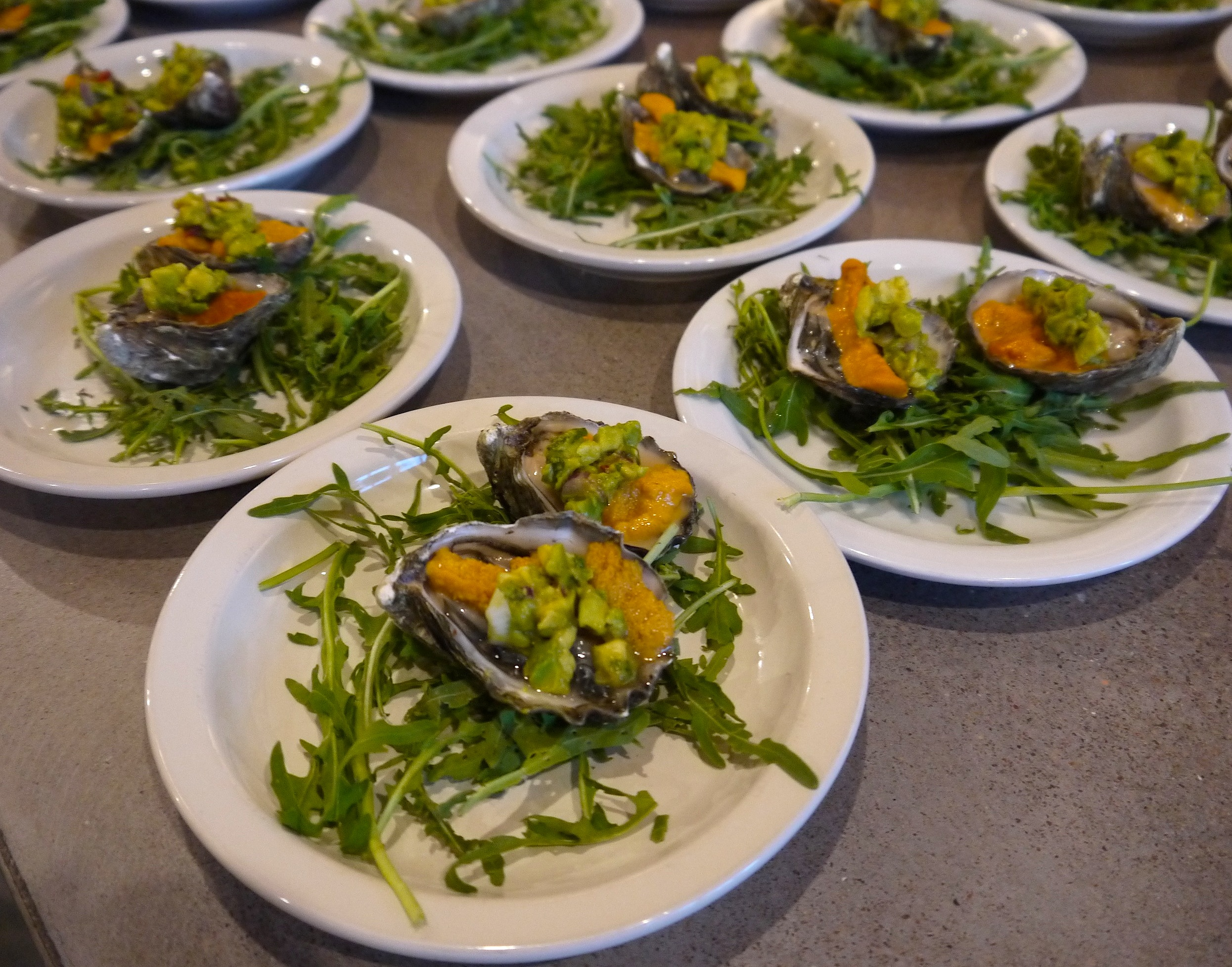 Jeff Olsson started us off with an oyster, uni and avocado plate paired with the 2016 Kaena Grenache Blanc.